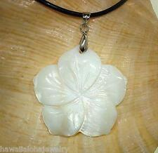 40mm Hawaiian White Mother of Pearl Shell Hibiscus 18k WGP Necklace 18""