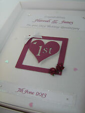 Luxury Personalised First 1st Wedding Anniversary Card, Swarovski crystals boxed