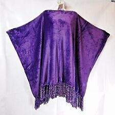 ~New HANDMADE Velvet Plush Poncho w/Chenille OS+ 2016 ROYAL PURPLE Mardi Gras