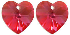 2 SWAROVSKI CRYSTAL GLASS XILION HEART PENDANTS 6228,LIGHT SIAM RED, 10 MM