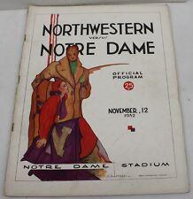 1932 Northwestern v Notre Dame Football Program 11/12/32 Ex Roster Page Loose
