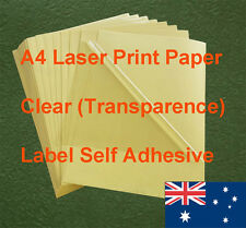 10 X A4 Clear Label Self Adhesive Sticker Laser Print Paper ( transparence )