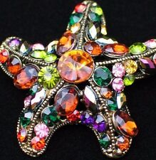 AB PINK GREEN RED GOLD OCEAN SEA LIFE SEA STAR STARFISH PIN BROOCH JEWELRY 2""