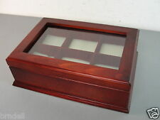 SOLID WOOD CHERRY FINISH JEWELRY 6 WATCH DISPLAY CASE STORAGE HOLDER ORGANIZER