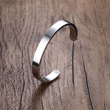 Stainless Steel Men Women Open Cuff Bangle Bracelets Wristband Fashion Jewelry