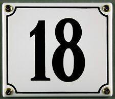 """Weiße Emaille Hausnummer """"18"""" 14x12 cm Hausnummernschild sofort lieferbar Schild"""