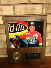 VINTAGE 1980'S NASCAR JEFF GORDON DUPONT CHEVEROLET WALL PLAQUE RACE CAR / PHOTO
