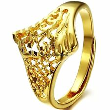 Yellow Gold Tone Ladies Promise Ring Engagement Wedding Band Adjustable Size
