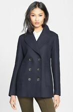 NWT BURBERRY $895 WOMENS COTTON PEACOAT COAT JACKET SZ US 0 EU 34