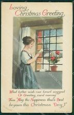 Lady Christmas Greetings Clapsaddle Relief SPOT CORNER CREASE postcard QT5914