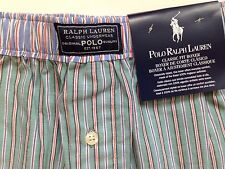 Green Striped Polo Ralph Lauren Pony Boxer Shorts New M $28 Classic Fit Cotton