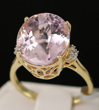 9.68ct Genuine Mawi Kunzite Solitaire with Diamonds 14k Solid Gold Ring, Size 7