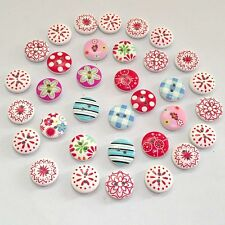 100x Wholesale Wood Buttons Flower Printing Scrapbooking Sewing Craft Handicraft