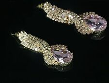 "10k Gold GP Sparkling Clear & Light Pink AB Austrian Crystal 2"" Long Earrings"