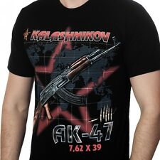 """Kalashnikov"" t-shirt - original image with the gun on a red star background"
