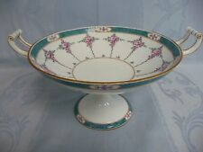 BEAUTIFUL ANTIQUE MINTON'S FOOTED COMPOTE BOWL w/HANDLES, GREEN BORDER & ROSES