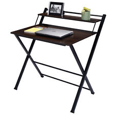 2-Tier Folding Computer Desk Home Office Furniture Workstation Table Study New