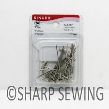 "SINGER T PINS NICKEL PLATED STEEL (SIZE 28, 1- 3/4"") 24 COUNT S00291"