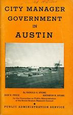 Book City Manager Government in Austin Texas Public Administration Service 1939