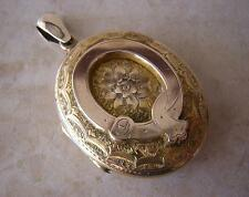ANTIQUE VICTORIAN LARGE ROSE GOLD OVAL LOCKET - SUPERB MOURNING HAIR PANEL 11 gm