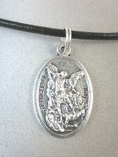 "St Michael the Archangel Medal Italy Pendant Necklace 18"" - 20"" Leather Cord"