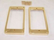 PAIR OF THICK GOLD FLAT BASE METAL HUMBUCKER PICKUP SURROUNDS/ GIBSON ETC