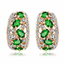 18k rose Gold plated Swarovski crystals filigree huggie green earrings