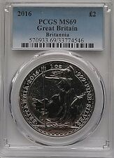 PCGS 2016 Great Britain BRITANNIA Textured Fields £2 Coin MS69 Silver 1oz 999 Ag