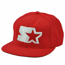 Starter Logo Red Flat Bill Snapback Hat Cap Brand Sport Wear Apparel Headgear