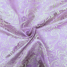 "LAVENDER SILVER PAISLEY METALLIC BROCADE FAUX SILK 60""W FABRIC WEDDING DRAPE"