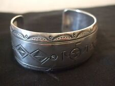 Navajo Native American Sterling Silver Overlay Bracelet by Willie Yazzie