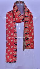 Vintage Cotton Hand Quilted Kantha Hand Work Stoles Reversible Scarves Scarf