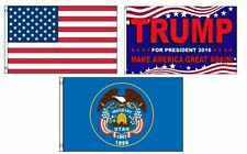 3x5 Donald Trump & USA American & State of Utah Wholesale Set Flag 3'x5'