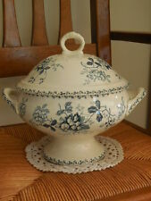 Antique French White & Blue Ceramic Large Soup Tureen - From St AMAND 1890