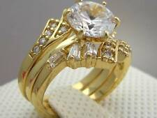 Prong Lab Diamond 14ct 9ct Yellow Gold GF Wedding Engagement 3 RING SET S & 9