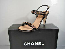 Chanel Classic Black Leather Strappy Gold Woven Chain Sandals Shoes Heels 39 New