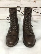 Women's Justin Brown Leather Bullhide Lace Up Roper Granny Boots Shoes Sz 7.5 D