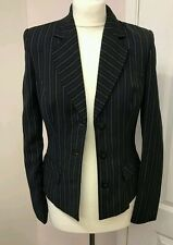 Next ladies black pin stripe business office formal blazer suit jacket UK 8sp