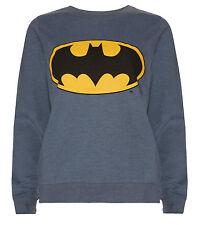 Official BATMAN Women's Sweatshirt Size 10 BNWT Blue Top Jumper Logo Bat Signal