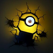 DESPICABLE ME MINIONS STUART 3D DECO LED WALL LIGHT + CRACK STICKER