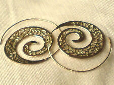 """BRASS AUTHENTIC INDIAN FILIGREE SPIRAL EARRINGS 1.75""""/40mm.in DIAMETER £8.99 NWT"""