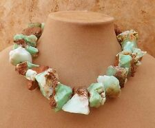 JADE CHRYSOPHRASE MINT CHOCOLATE FAT CHUNKY NECKLACE GREEN BROWN Freefm natural