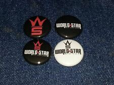 """world star hip hop set of 4 1"""" inch button pin back"""