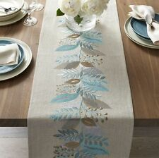 """Crate and & Barrel Clara Table Runner-14"""" x 90""""- NWOT- NEW- Light Blue & Neutral"""