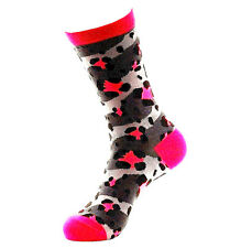BETSEY JOHNSON Casual Socks, Ladies SZ 9-11 Lucky Leopard Sock Gray/Pink NEW