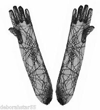 Spider Web Gloves Black Halloween Cobweb Witch Fancy Dress Costume One Size