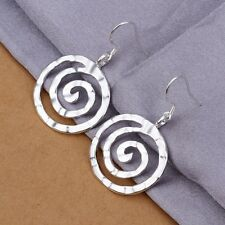 New Women 925 Sterling Silver Plated Modern Fashion Whorl Dangle Studs Earrings