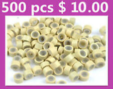 500 x QUALITY SILICONE MICRO BEADS/RINGS FOR HAIR EXTENSIONS- BLONDE