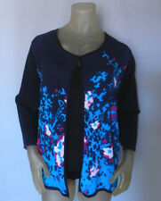 Investments II Woman's SWEATER Floral Long Sleeve Plus 1X Cotton Rayon Blue NWT