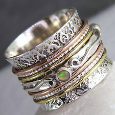 US 8 1/4 ~ 925 Stg Silver/OPAL~ SilverSari Chunky 3-Tone 7-Spin SPINNER RING